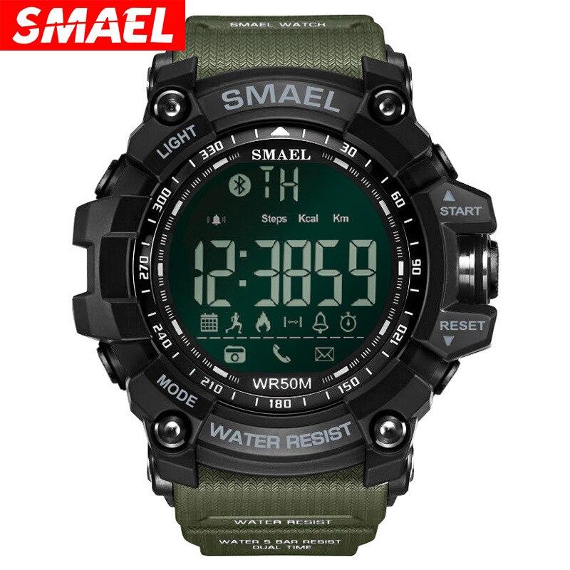 SMAEL Bluetooth Montre Smart Watch Hommes Sport Intelligente Podomètre Fitness Montres pour iPhone Android 50 m De Bain Numérique Horloge Relogio
