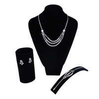 Top Quality Gold Color & White Color Cubic Zircon Jewelry Sets Necklace Earrings Bracelet Ring Three row chain Necklace Set