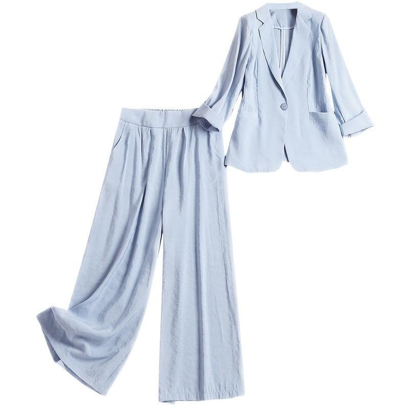 Costume Bureau Piece 2019 Bouton De Nouvelle Printemps Bleu Pantalon S See 2 Lday Mode Blazer Un Chart Long Femmes Set PXWan6x4