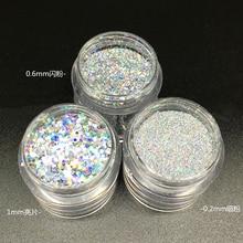 10 мл/коробка 0,2 мм, 0,4 мм, 1 мм тонкая голографическая Лазерная Блестящая серебряная пудра для дизайна ногтей с блестками и пылью в форме Шестиугольника для украшения ногтей