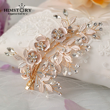 Himstory Wedding Bridal Hairgips Hair Accessories Gold Rhinestone Crystal Hair Comb Clip Side Gold  Head Jewelry Hairpin crystal rhinestone flower wedding party bridal hair comb hairpin clip jewelry silver new formal headwear
