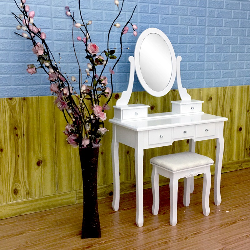 Wooden Dressing Table Makeup Desk with Stool Oval Rotation Mirror 5 Drawers White Bedroom Furniture Dropshipping ship from germany makeup dressing table with stool 7 drawers adjustable mirrors bedroom baroque style