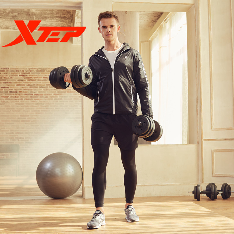 XTEP Zipper Athletic Coat Fitness Long Sleeve Men Sport Running Training Exercise Gym Jacket Hoodies Sportswear Free Shipping free shipping employee training table the long tables desk training carrel