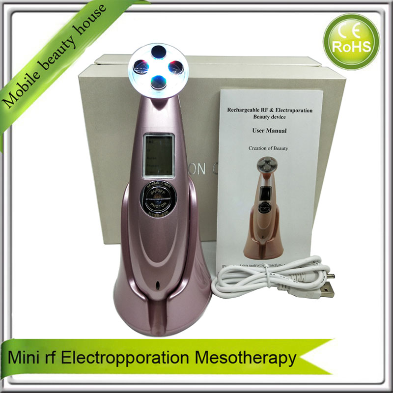 Mini Rechargeable Electroporation Mesotherapy Rf Ems Led Light Photon Face Eye Skin Lifting Tightening Beauty Instrument Skin Care Tool Beauty & Health