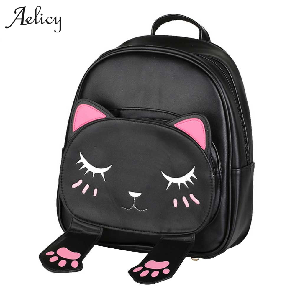 Aelicy 3 Colors mochilas mujer 2019 Cute Cat Backpack School Women Pu Leather Backpacks for Teenage Girls Female Mochila 1018Aelicy 3 Colors mochilas mujer 2019 Cute Cat Backpack School Women Pu Leather Backpacks for Teenage Girls Female Mochila 1018