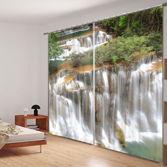 Beautiful Waterfall 3D Photo Printing Blackout Window Curtains For Living  Room Bedding Room Hotel/Office