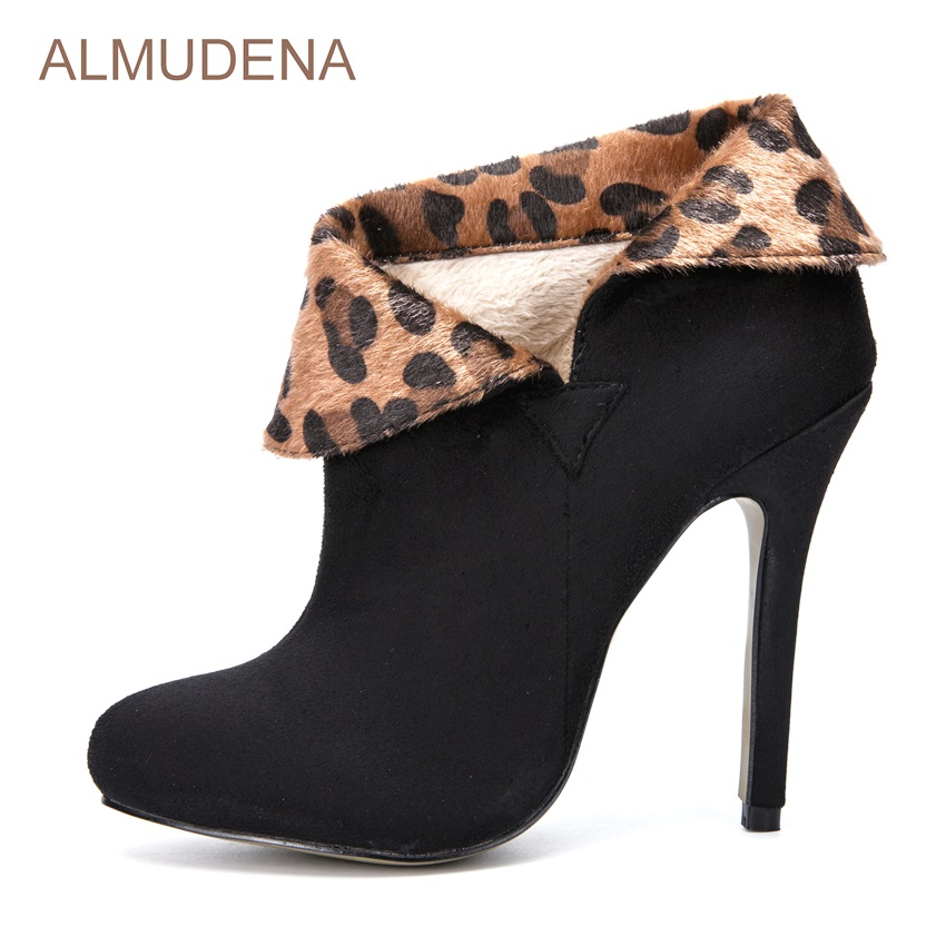 ALMUDENA New Design Black Suede Leopard Patchwork Dress Boots Thin High Heel Ankle Boots Turned-over Stylish Short Riding Boots