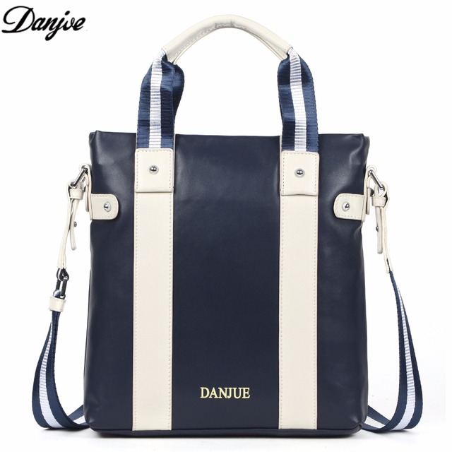 DANJUE Designer Bag White   Blue Strip Casual Men s Briefcase Shoulder Bags  Laptop Crossbody Messenger Bag Men Leather 2017 3107 c461207e7c44f