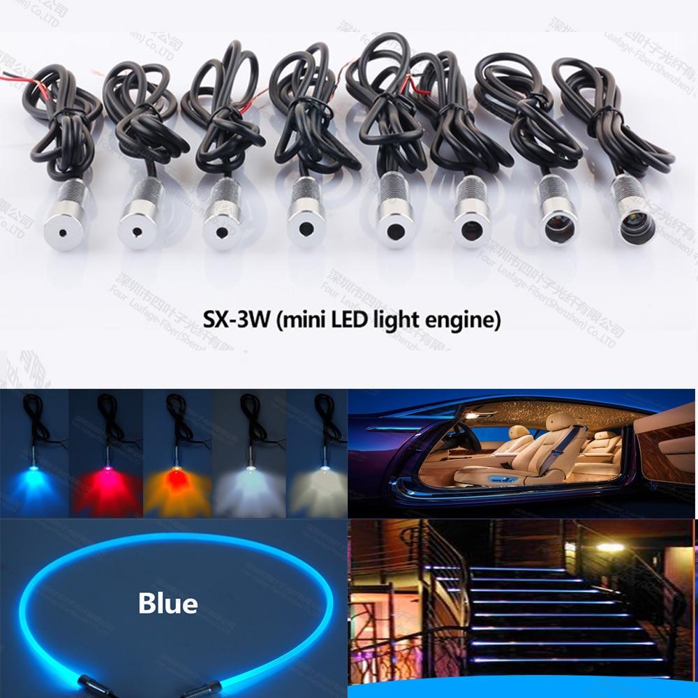Mini 3W 12v Car Led Fiber Optic Projector Light Source Engine For Car Interior Lighting Steps Decoration