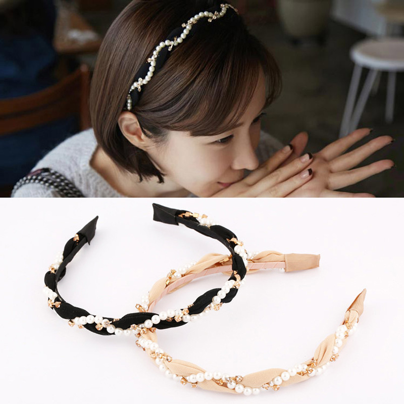 Japan and South Korea Korean hair jewelry pearl diamond hair hoop headband hairpin small jewelry korean hair jewelry bow hair hoop headband free home delivery