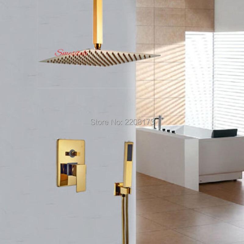 Smesiteli Luxury 100% Brass Ceiling Mount Gold Color 8 Inch Rainfall Shower Set 2-way Mixer with Hand Spray Shower Set