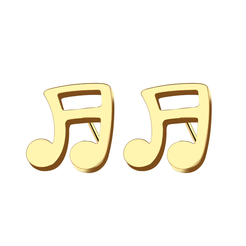 Cacana Stainless Steel Stud Earring Musical Notes Gold And Silver IMG_4519 (2)
