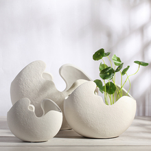 white eggshell ceramic creative contracted flower vase pot home decor craft room decoration handicraft porcelain figurine