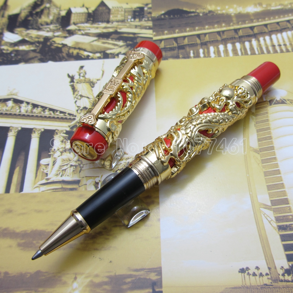 Jinhao pen Dragon and Phoenix Lucky Clip rollerball Pen Gold Red White Black Gold Black Optional JH1033 бронзеры kiss kiss бронзирующая пудра deep glow face