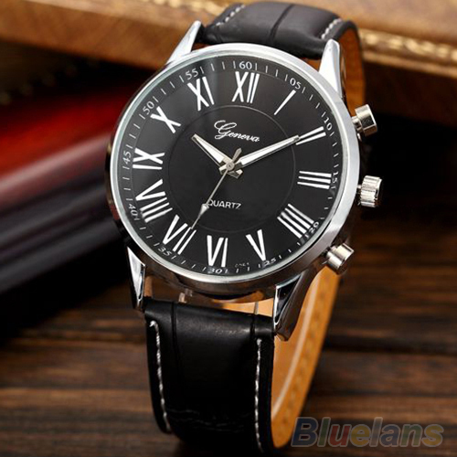 Men's Fashion Faux Leather Band Roman Numerals Analog Quartz Sport Wrist minimalist  Watch spor saat army watch  erkek saatleri faux leather roman numerals quartz watch