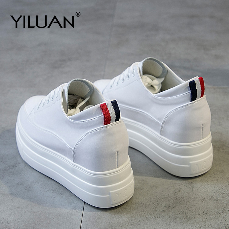 Yiluan Genuine Leather Women s White Shoes Platform Sneakers 2019 Spring autumn Fashion Women Black Increase