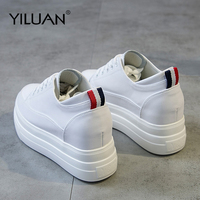 Yiluan Genuine Leather Women's White Shoes Platform Sneakers 2019 Spring autumn Fashion Women Black Increase Casual Shoes Woman