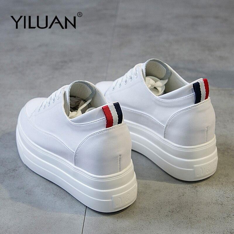 Yiluan Véritable Cuir Femmes chaussures blanches de Plate-Forme Sneakers 2019 Printemps automne Mode Femmes Augmentation Noir chaussures femme décontractées