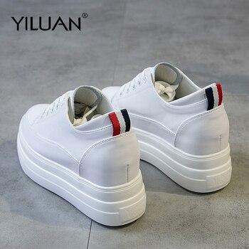 Cuero Zapatos De Yiluan Mujer Zapatillas Blancos Genuino txBdChsrQ