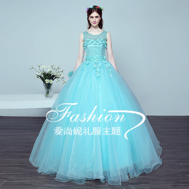 Elegant Sheer Neck Masquerade Ball Gowns with Embroidery Baby Blue ...