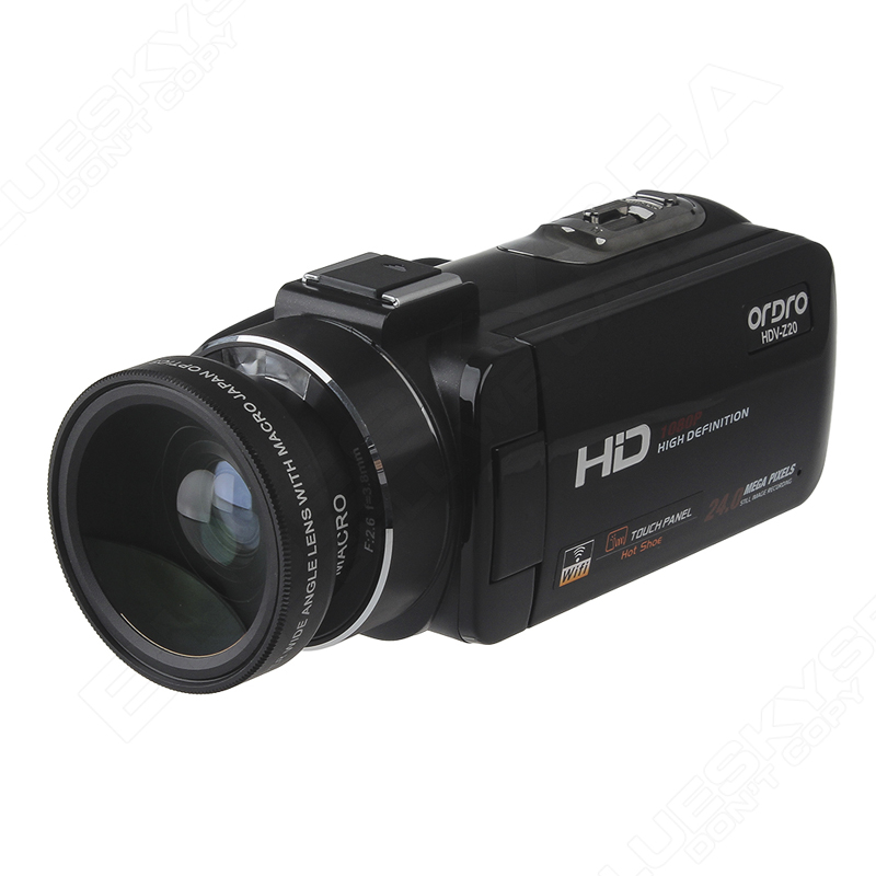 ORDRO Digital Video Camcorder Camera 1080P 24MP+0.45X Wide Lens+2X Teleconvertor Free shipping 16
