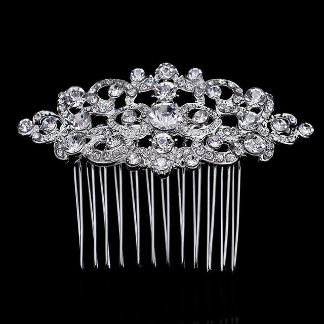 5cd570f7e8 Fashion Crystal Wedding Hair Accessories for Women Hearts Shape Bridal Hair  Comb Hairpins Tiara Floral Femme Hair Jewelry