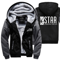 S T A R STAR Labs Hoodies Warm Fleece Thicken Men Sweatshirts 2018 Winter The Flash