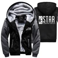 S T A R STAR Labs Hoodies Warm Fleece Thicken Men Sweatshirts 2018 Winter The Flash