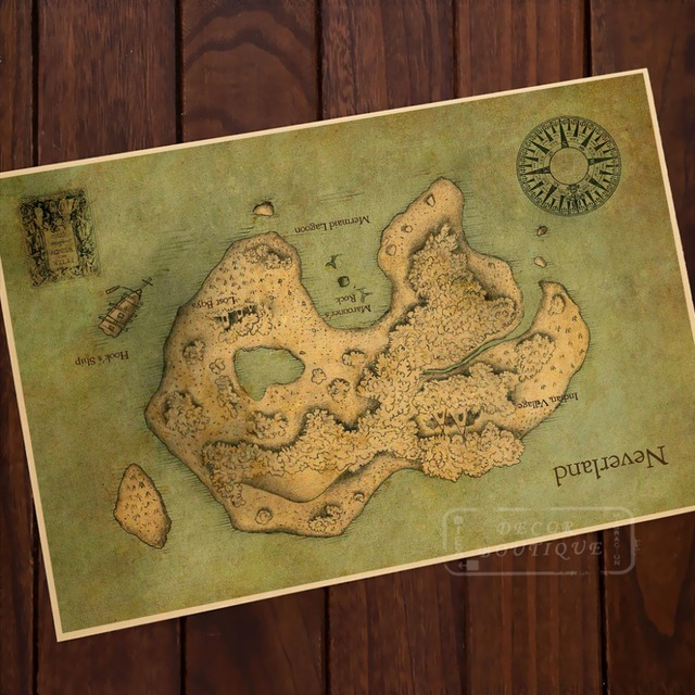 Map Of Mysterious Island Neverland Classic Vintage Retro