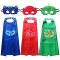2017 Nueva Máscara de Capa y Máscara 2 UNIDS Niños Conjunto PJ PJ máscara Traje de Superman niños fiesta de cumpleaños del favor Del Niño Ropa Niños Set