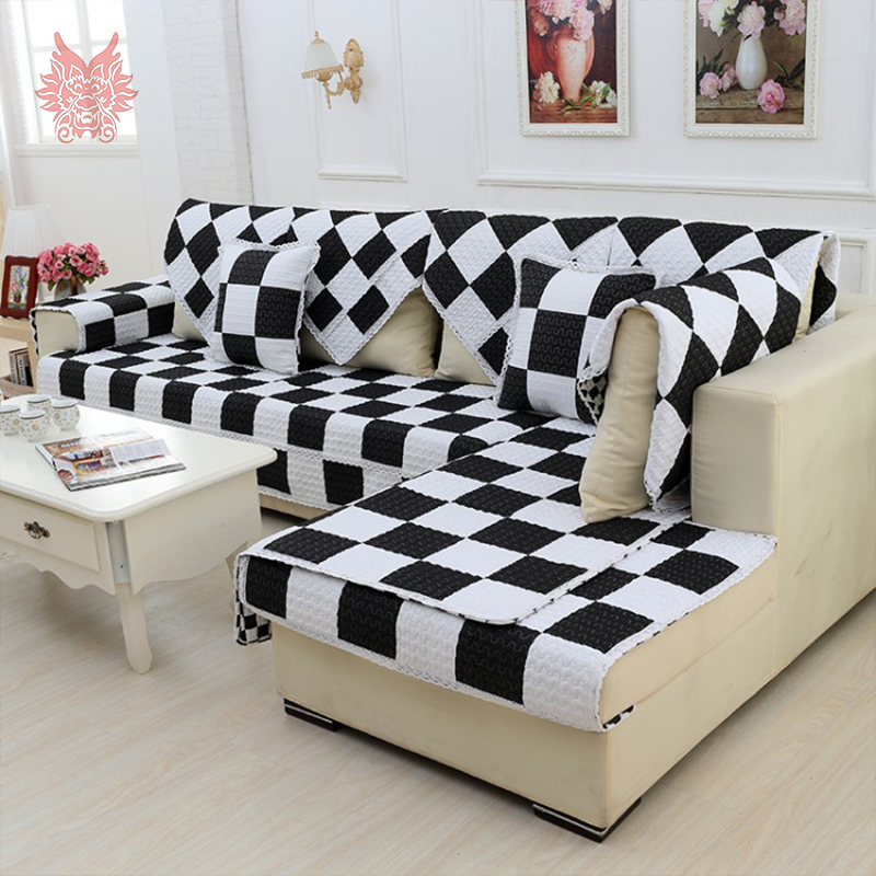 Modern Style Black White Plaid Print Sofa Cover Pure 100 Cotton