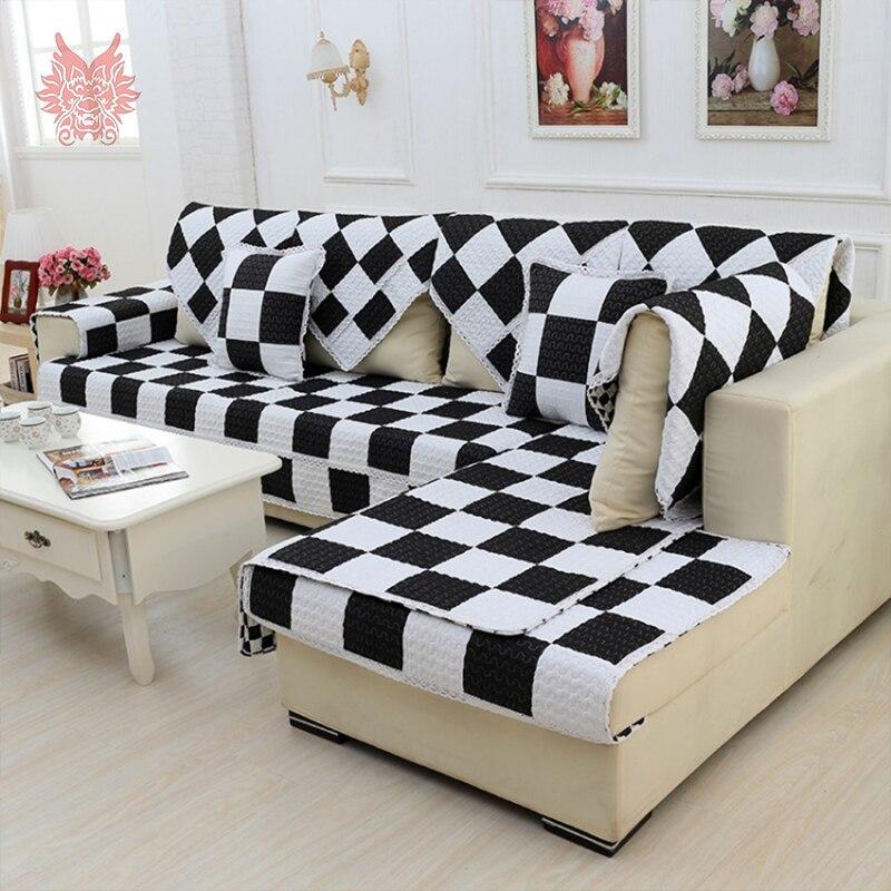 Style moderne noir blanc imprim carreaux housse de canap pur 100 coton courtepointe housses for Housse canape moderne