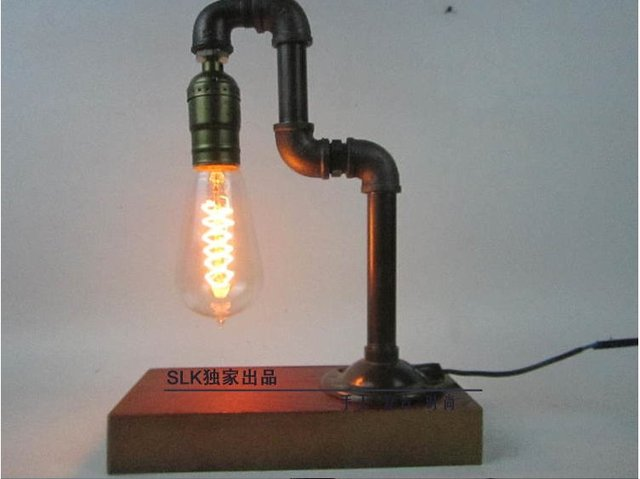 Vintage industrial retro style steel pipe desk table lamp for Plumbing light fixtures