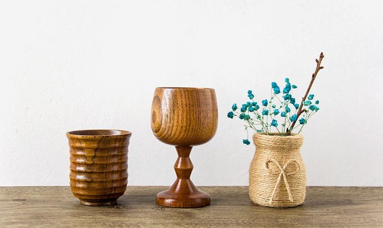 Улучшенный деревянный бутылки ручной работы Бокал Вина чистые натуральные Унаби деревянный воды чашка кофейная чашка Кухня аксессуары