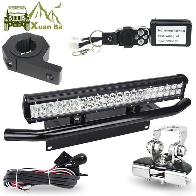 LED Light Bar Offroad Tube Hood Roof License Installation Bracket Remote Control Wire Harness 12V 24W Work Lights