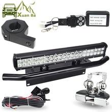 LED 라이트 바 Offroad 튜브 후드 지붕 라이센스 설치 브래킷 원격 제어 와이어 하네스 12V 24W 작업 표시 등