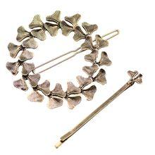 2Pcs/Set Minimalist Ginkgo Leaf Circle Hair Clip Ladies Metal Alloy Retro One Word Hairpin Wedding Banquet DIY Styling Barrettes