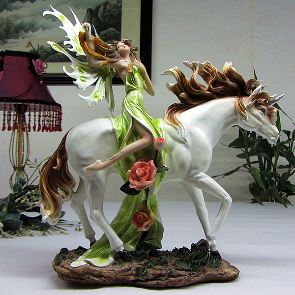 Y Fairy On Horse Sculpture Polyresin Female Celestial Figure Gift Craft Ornament Accessories For Home Decor