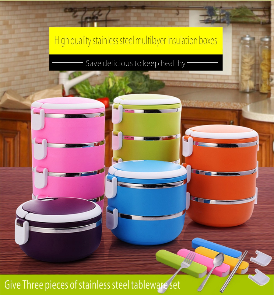 High Quality Korean Monolayer Bilayer Bento Lunch Box Portable Stainless Steel Lunchbox Tableware Easy Open Food