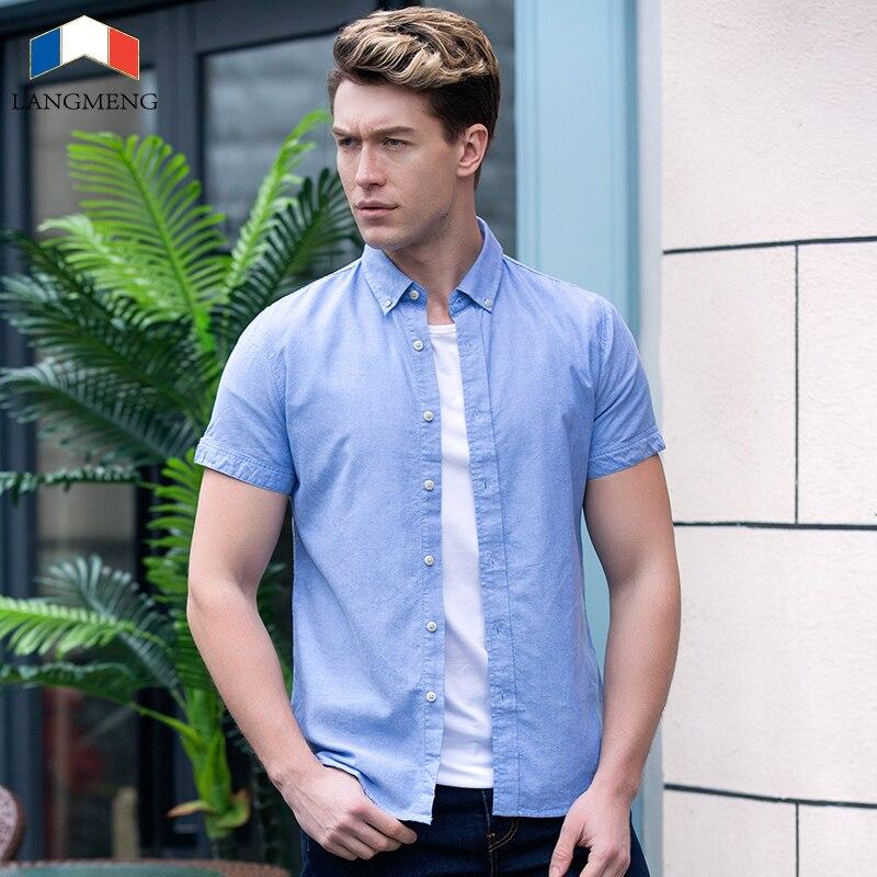 Langmeng New 100 Cotton 2016 Summer Mens Dress Shirts Slim Fit Male Shirt Short Sleeve Men
