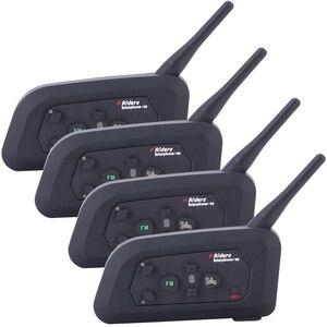 Image 2 - 4 قطعة Fodsports V4 خوذة للدراجات النارية اتصال داخلي سماعة رأس بخاصية البلوتوث 4 راكبين 1200 متر لاسلكي Intercomunicador BT راديو FM