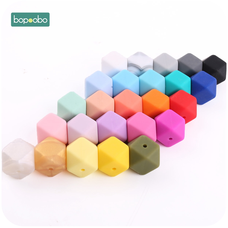 Bopoobo 17mm Silicone Beads Nursing Accessorie 10pc Colorful Silicone Hexagon Bead Montessori Toys Baby Nursing Accessories