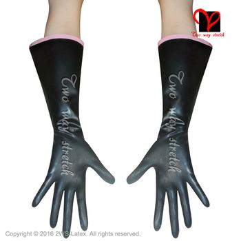 Czarne seksowne rękawiczki lateksowe z wykończeniami na górze gumowa rękawica rękawica pięć palców Opera plus rozmiar ST-033 tanie i dobre opinie Moda Two way stretch Dla dorosłych Patchwork Unisex ST-033 latex gloves Rubber mittens cuffs mitts catsuit dress latex gloves Rubber gloves mitten catsuit dress body suit