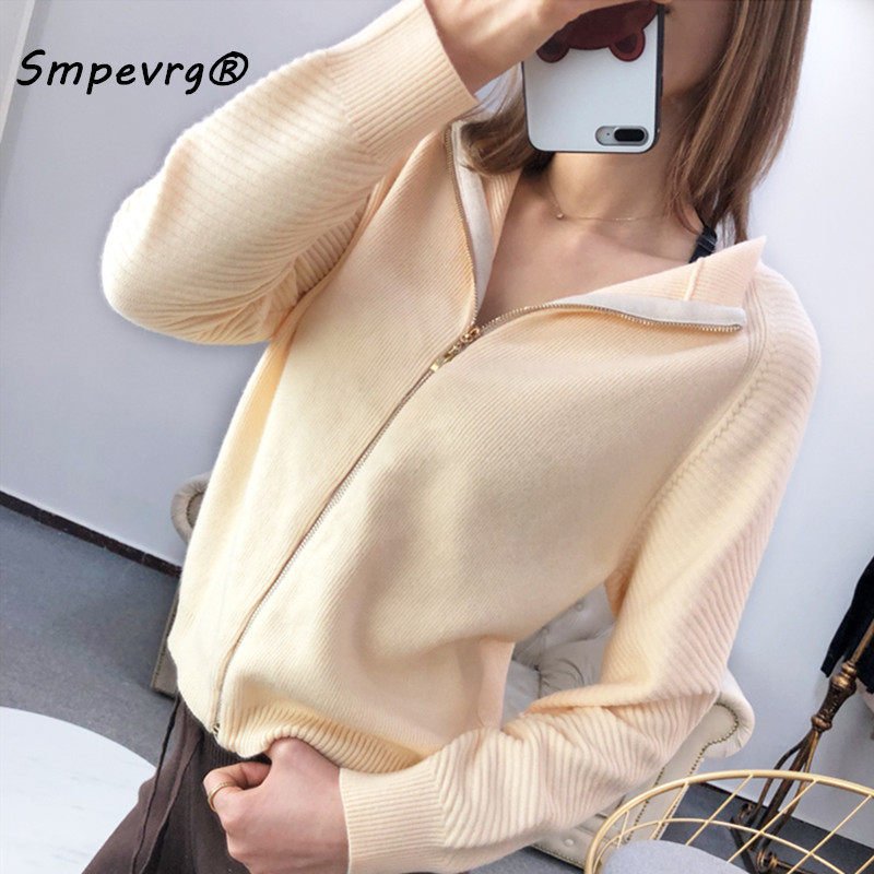 Smpevrg spring lady cardigan knitted sweater women cardigan femme coat long sleeve O neck zipper jacket