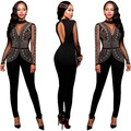 2016 Mesh Hot drilling party Bandage bodycon Autumn/Summer women playsuits casual sexy fashion Jumpsuits Rompers feminino 2142