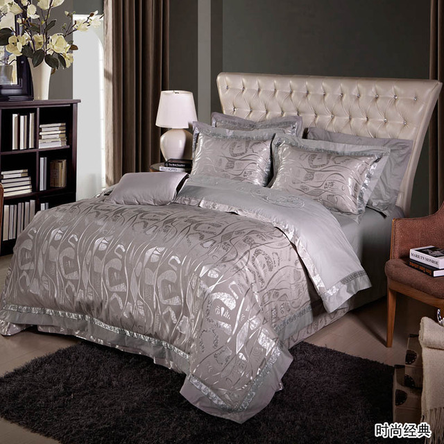 Free Shipping Fashion Tribute Silk Silver Bedding Comforter Set With Palace  Style Bed Sheet King/