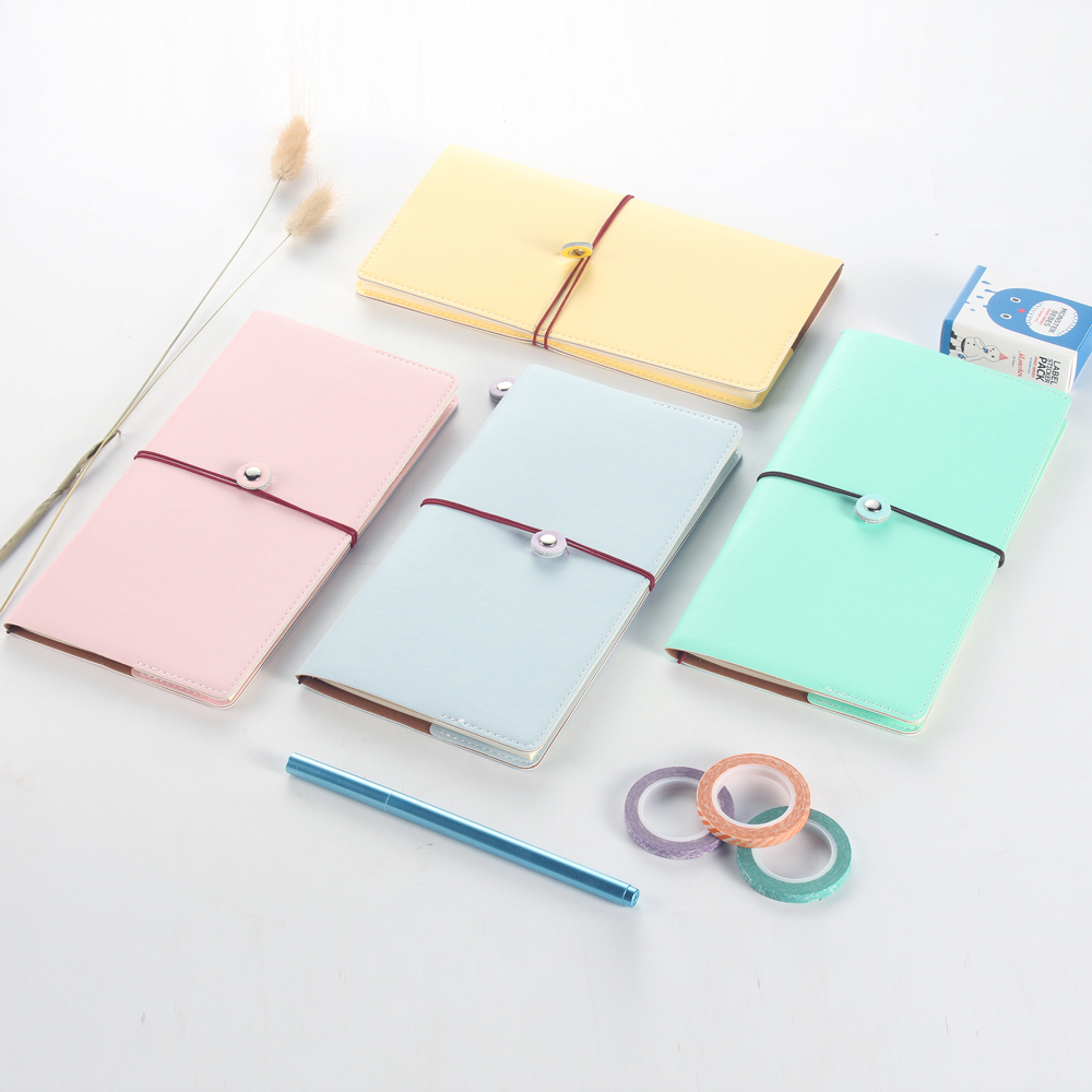 Macaron leather bandage travel notebook,cute portable traveler journal/diary weekly planner office school stationery supplies tunacoco japanese kokuyo wcn s6090 traveler notebook simple scheduel book bullet journal school office supplies bz1710063
