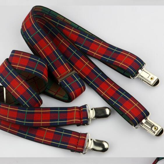 DKBLINGS Multi Colors Stripes Checker Suspender Jeans Pants With With Suspenders Men Women Braces Clip On Elastic 2.5 Cm Braces