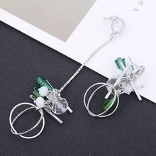 Fashion Women Earring Girl Luxury Charming Crystal Leaves Tassel Ear Stud Earrings Fashion Jewelry Birthday Gift Bijouterie