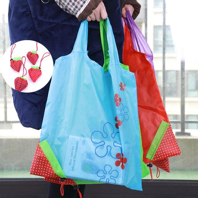 efe7d79e3 New Creative Environmental Storage Bag Handbag Strawberry Foldable Shopping  Bags Reusable Folding Grocery Nylon Eco Tote Bag